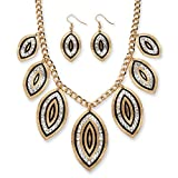Best Palm Beach Jewelry Statement Necklaces - Black Enamel and Simulated White Crystal Gold Tone Review