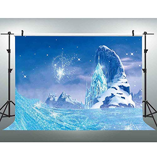 VVM Frozen Backdrop Glacier Snowflake Photography Background Children's Theme Birthday Party Decoration Customized Video Photo Studio Props 10x7ft GYVV680 ()