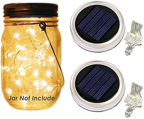 Mason Jar Lights Lids – Solar Lights LED String Lights Screw on Silver Lids – Soft Warm White – Best for Glass Mason Jar Patio,Garden,Wedding,Party Table Decor 30-LED Warm White,Jar Not Include