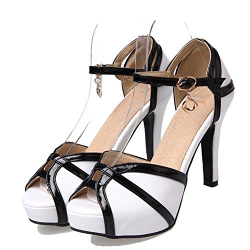 YE Damen Knöchelriemchen High Heels Peep Toe Sandalen Plateau Pumps mit Schnalle und 10cm Absatz Elegant Schuhe Weiß