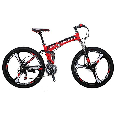 Kingttu G6 Mountain Bike 26 Inches 3 Spoke Wheels Dual Suspension Folding Bike 21 Speed MTB Red 2018