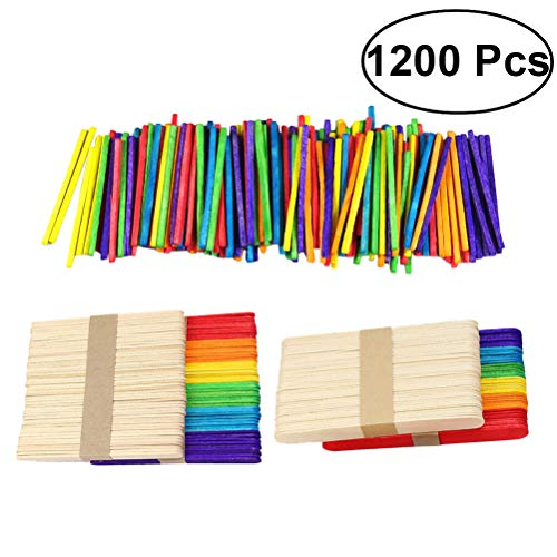 YeahiBaby 1200PCS Coloured Wood Craft Sticks Natural Wooden Popsicle Lollipop Stick for DIY Crafts