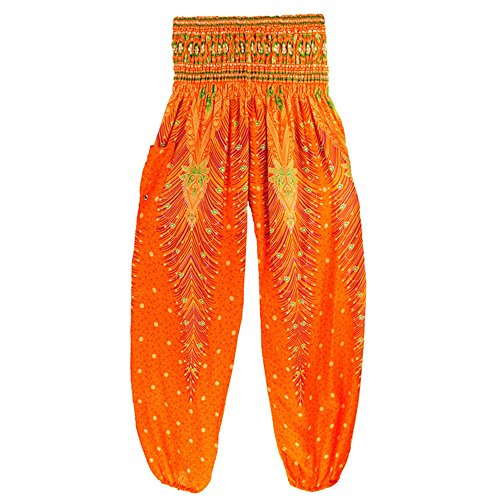MaaMgic mujer hippie boho pantalones de yoga amplia cintura elástica impresa vacaciones Bohemia naranja