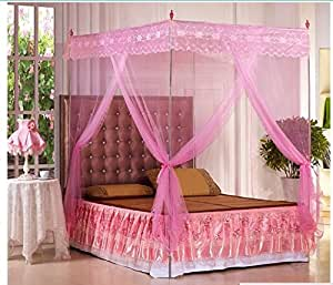 Amazon.com : Pink Lace Luxury 4 Post Bed Canopy Mosquito