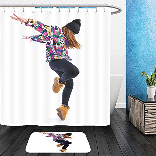 Funky Street Dance Costumes (Vanfan Bathroom 2 Suits 1 Shower Curtains & 1 Floor Mats young woman dancing street dance 287405363 From Bath room)