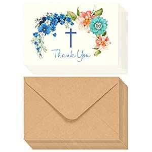Christian Thank You Cards, Floral Cross Design with Envelopes...