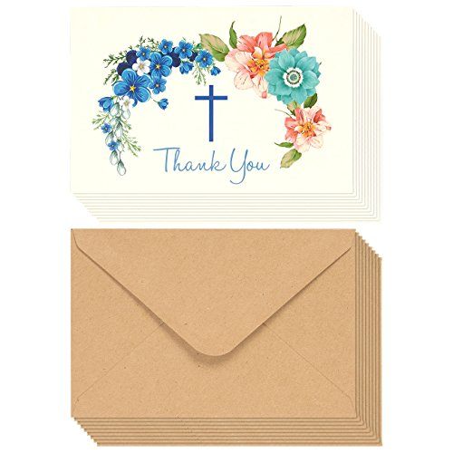 Christian Thank You Cards - 48-Pack Thank You Note Cards Ideal for Christening, Communion, Weddings and Religious Occasions - Includes Brown Kraft Paper Envelopes, 4 x 6 Inches ()