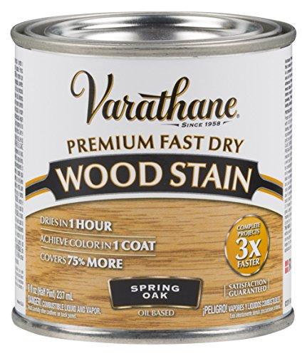 - Varathane 262023 Premium Fast Dry Wood Stain, 1/2 Pint, Spring Oak