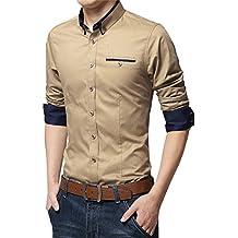 MEYKISS Men's Basic Slim Fit Business Button Down Shirt Dress Shirt