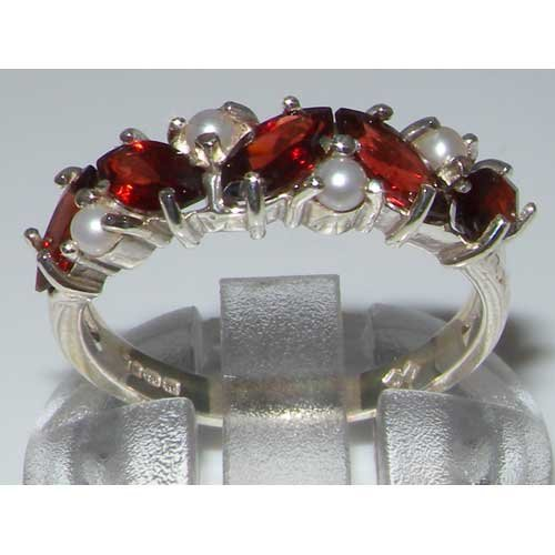 925 Sterling Silver Natural Garnet & Cultured Pearl Womens Eternity Ring Sizes 4 to 12 Available