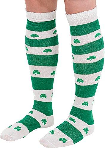 Shamrock Knee Socks, White/Green, One Size Fits -