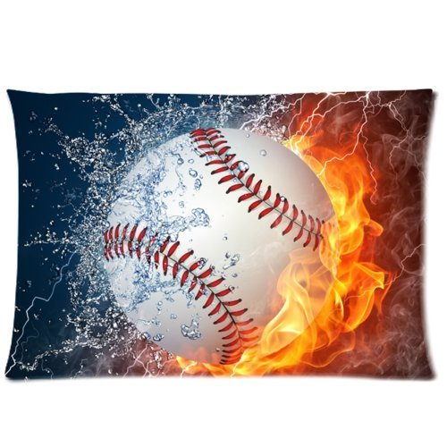 Sports Pillowcase (Baseball Between Water And Fire I Love Sport- Custom Personalized Pillowcase/ Pillow Cover Zippered With Comfortable Decorative Cotton and Polyester Standard 20x30(twin)