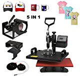 Superland 5 in 1 Digital Heat Press 12 x 15 Inch Multifunctional Transfer Sublimation T-Shirt Hat Mug Heat Press Machine (5 in 1: 12''x15'')