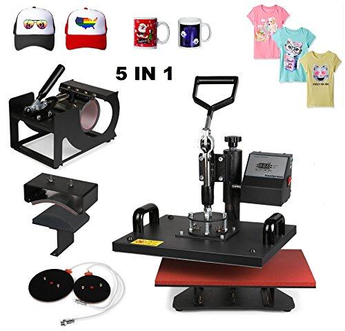 Superland 5 in 1 Digital Heat Press 12 x 15 Inch Multifunctional Transfer Sublimation T-Shirt Hat Mug Heat Press Machine (5 in 1: 12''x15'') by Superland
