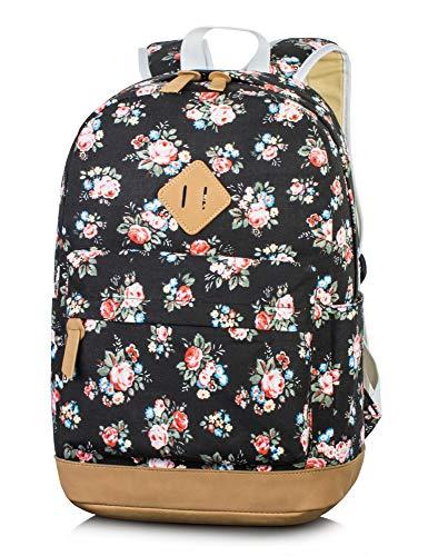 Leaper Floral Laptop Backpacks College Bags School Daypack Travel Bags Black