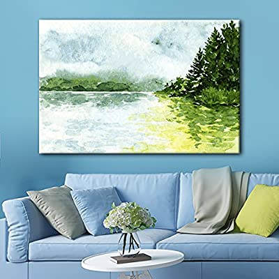 Canvas Wall Art - Watercolor Style Landscape Painting a Spring Mountain Valley Green Grass - Giclee Print Gallery Wrap Modern Home Art Ready to Hang - 24x36 inches