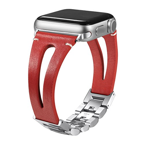 Secbolt 42mm/44mm Leather Bands Compatible Apple Watch Band Series 4 44mm, Series 3/2/1 42mm, Handmade Vintage Leather Bracelet, Hollowed Red