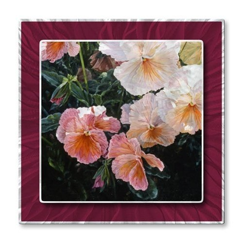 Metal Art Floral Wall Décor Contemporary Painting Pansies