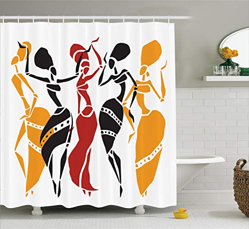 Ambesonne African Decorations Collection, African Lady Dancers Body Silhouettes in Motion Pose Exotic Characters Theme, Polyester Fabric Bathroom Shower Curtain, 75 Inches Long, Black Yellow Red ()