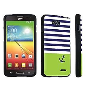 DuroCase ? LG Optimus L90 Hard Case Black - (Navy Stripe Anchor)