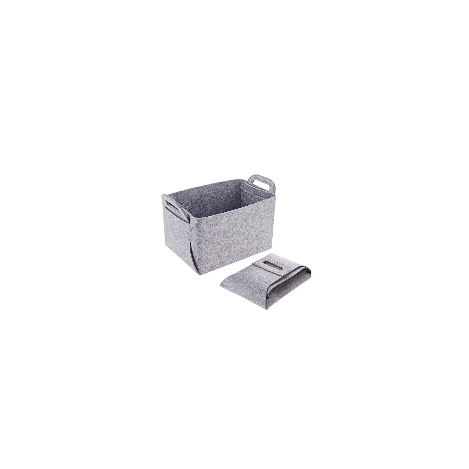 POLATU Soft Felt Storage Basket/Bin with Handles, Collapsible & Convenient Storage Solution for Office, Bedroom, Closet, Toys, Laundry(Light Gray,S)