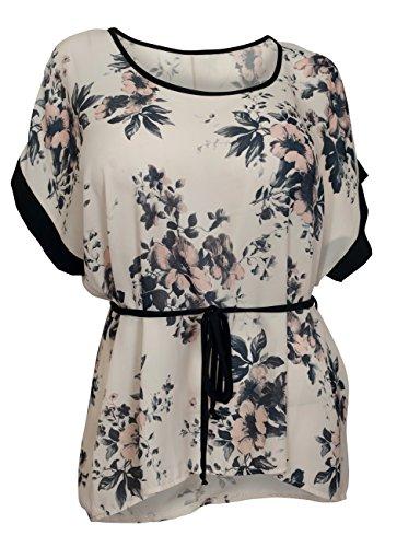 EVogues Plus size Kimono Sleeve Top Floral Print - 2X