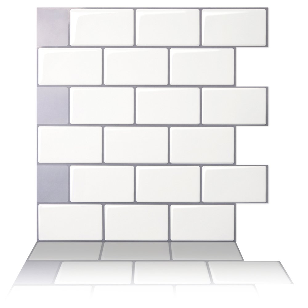 Tic Tac Tiles - Premium Anti Mold Peel and Stick Wall Tile in Subway Design (12''x12'' 10 Sheets, Mono White)