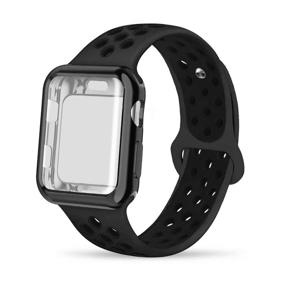 INTENY Compatible for Apple Watch Band 42mm with Case, Soft Silicone Sport Wristband with Apple Watch Screen Protector Compatible for iWatch Apple Watch Series 1,2,3,4, 42mm M/L,Anthracite Black by INTENY (Image #1)