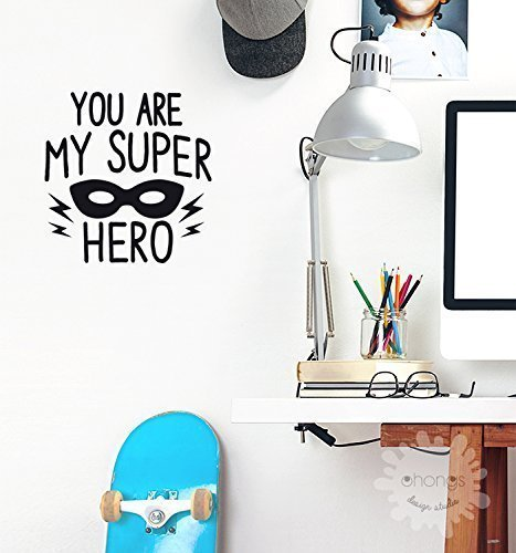 Hero Wall Decal / You Are My Super Hero / Letter Wall Decal / Kids Room Decor / quotes / Custom / removable decals / nursery / -