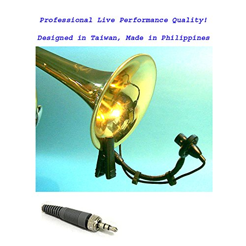 AV-JEFE PMM22 Professional Wind Instrument Microphone for Sennheiser Wirelss Transmitters_with Mini Shock Mount Holder; Great for Horns, Trumpets, Clarinets, Saxophones, and Drums