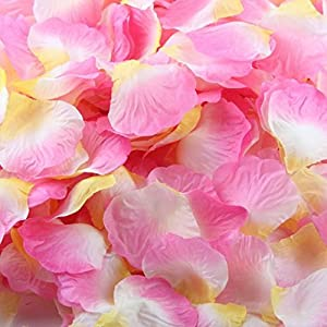 1000 Pcs Artificial Silk Rose Petals, Tuscom Fake Rose Flower Petals for Wedding Party Confetti Flower Girl Bridal Shower Valentine Day Romantic Decor Hotel Home Decoration 2
