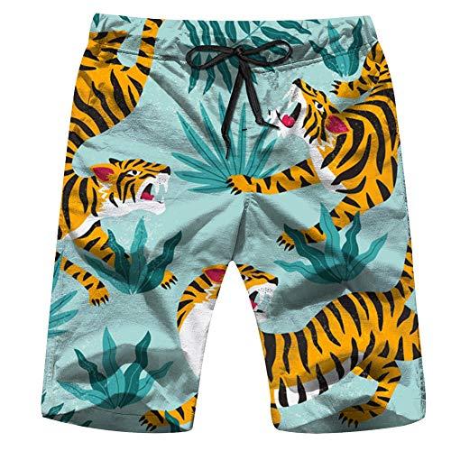 Cute Tigers On Animals Wildlife The Arts Mens Boardshorts Swim Trunks Quick-Drying Running Shorts L