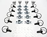 Motorcycle Race Fasteners Quick Release 17mm D-Ring 1/4 Turn Fairing Fastener Rivet Style Black Chrome x10 Sets