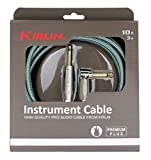 Kirlin Cable IWB-202PFGL-10/OL -10 feet- Straight to Right Angle 1/4-Inch Plug Premium Plus Instrument Cable, Olive Green Tweed Woven Jacket