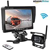 Accfly Wireless Backup Camera RC 12V-24V Rear View and Monitor Kit Waterproof Parking Assistance System For Car/Truck/Mini Van/Caravan/Trailers/Camper with 7HD LCD Night Vision