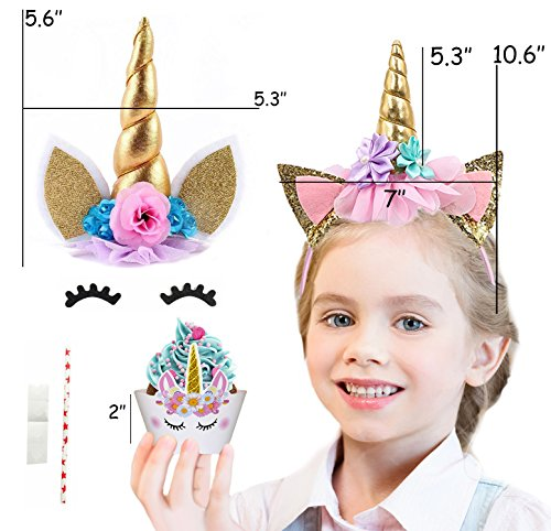 Bestus (29 pack) Unicorn Cake Topper with Eyelashes, Headband, Cupcake Wrappers and Happy Birthday Banner./Unicorn Party Supplies,for Birthday Party, Baby Shower, Kids Party Decoration by Bestus (Image #2)