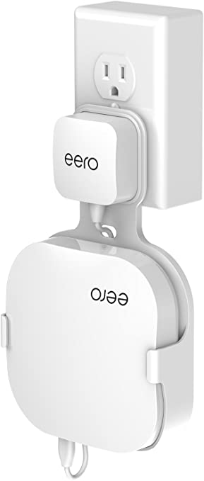 White Wall Mount Holder for eero Home WiFi The Simplest Wall Mount Holder Stand Bracket for eero Pro WiFi System Router No Messy Screws! 2 Pack
