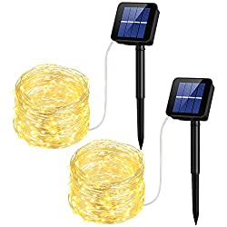 Mpow Solar String Lights, 33ft 100LED Outdoor String Lights, Waterproof Decorative String Lights for Patio, Garden, Gate, Yard, Party, Wedding, Christmas (Warm White)