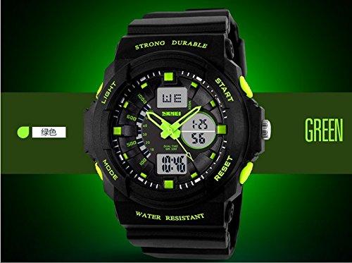 Amazon.com: SKMEI 0955 Multi Function Military S-shock Sports Watch LED Analog Digital Waterproof Alarm (Green): Watches