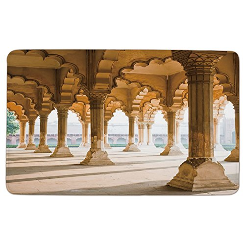 oormat Mat Rug Carpet,Pillar,Historical-Theme-Gallery-of-Pillars-at-Agra-Fort-Ethnic-Digital-Image-Decorative,Light-Coffee-and-Beige.jpg,Non-slip Rubber Backing Soft Absorbent,for (Agra Carpet)