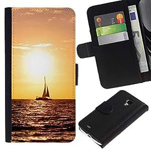 All Phone Most Case / Oferta Especial Cáscara Funda de cuero Monedero Cubierta de proteccion Caso / Wallet Case for Samsung Galaxy S4 Mini i9190 // Sunset Sailing