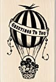 Inkadinkado Hot Air Balloon Greetings Wood Stamp