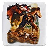 13 Inch 6-Sided Cube Ottoman Wild Horses
