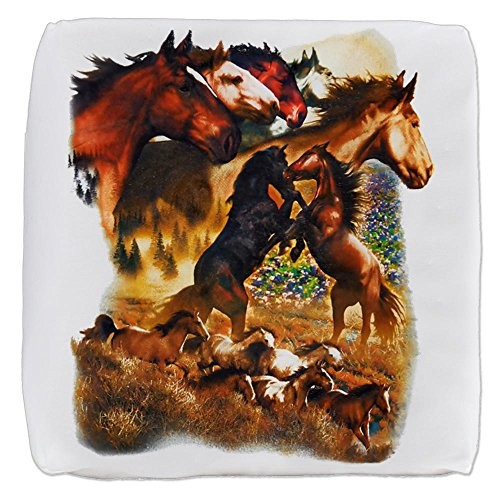 18 Inch 6-Sided Cube Ottoman Wild Horses by Royal Lion