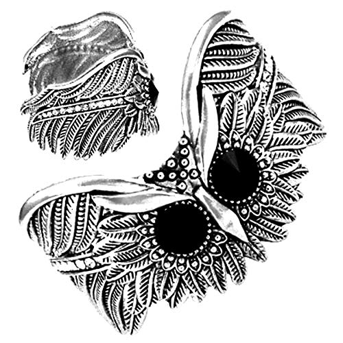 (DianaL Boutique Silver Tone Rhodium Plated Owl Adjustable Cuff Bangle Bracelet Gift Boxed Fashion Jewelry BX0)
