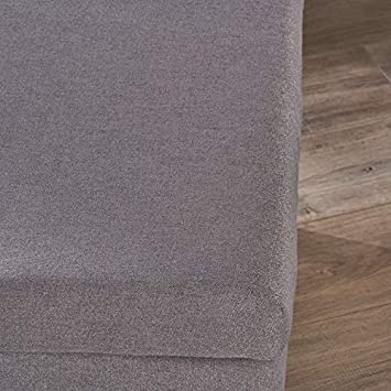 Great Deal Furniture 304579 Beryl Mid Century Fabric Ottoman in Grey, Natural