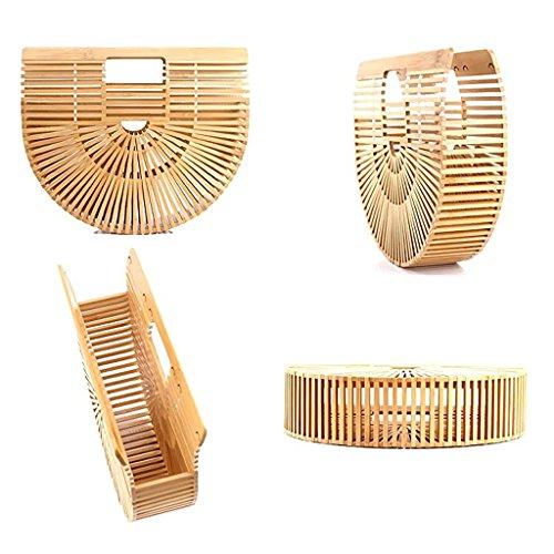 as Wicker Beige Small described Tote Small Bags Bag Straw Women Handmade Basket Bamboo Fenteer Woven Beige Handbag Summer xqB7zn6F1