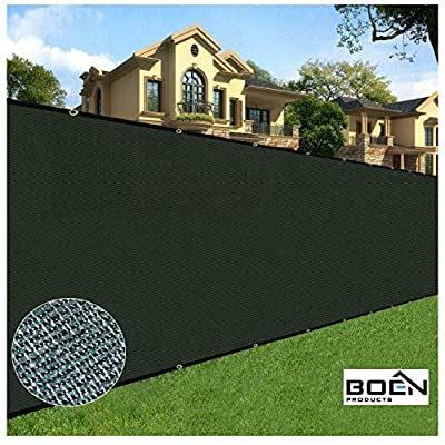 BOEN Privacy Screen Fence Netting Mesh Fabric Windscreen with Reinforced Aluminum Grommets for Garden Fence Or Any Outdoor Metal or Wooden Fencing 6 Ft. X 20 Ft. Green