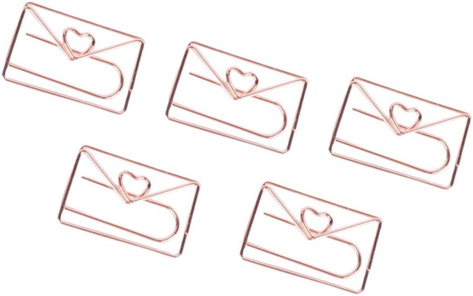 Toyvian 10pcs Clips de papel Abrazaderas lindas Paperclips Marcadores para Art Crafts Scrapbook Office School (en forma de corazón)