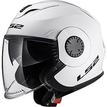 LS2 OF570 Doble Visera Cascos Abiertos Casco de Moto de Cara Abierta - Blanco XXS(